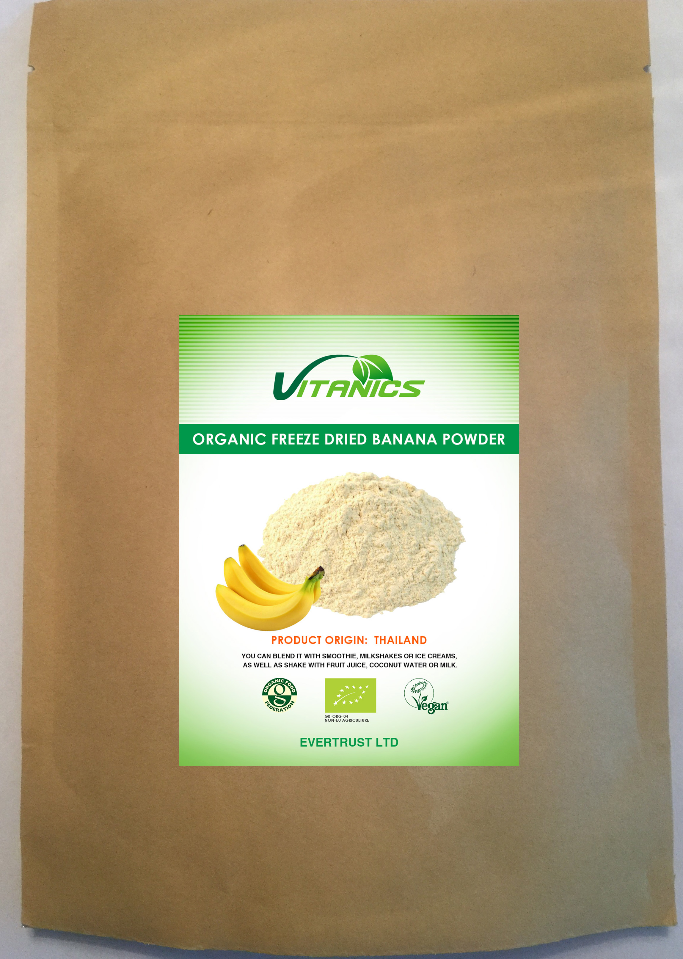 Organic Freeze Dried Banana Powder 125g