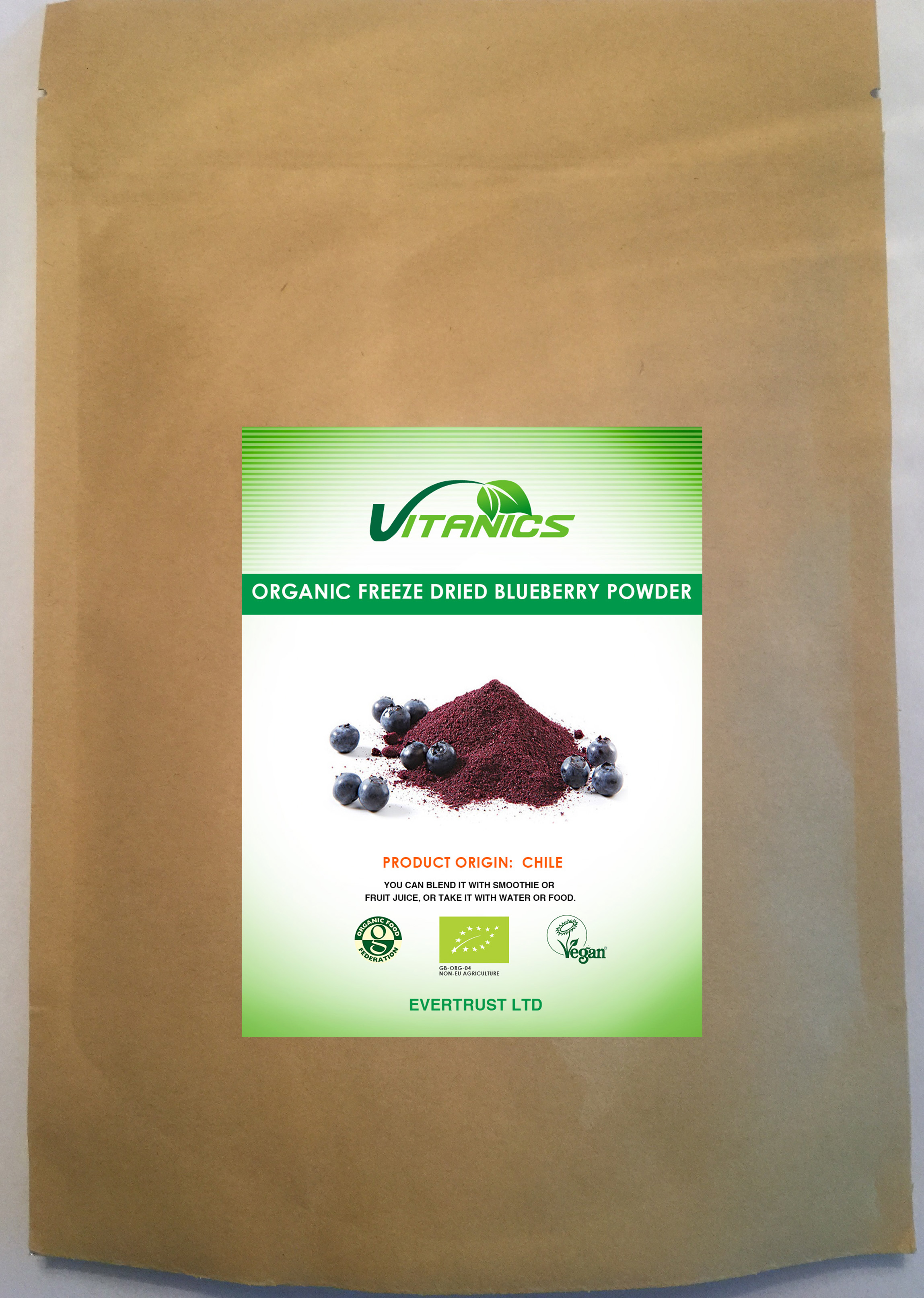 Organic Freeze Dried Blueberry Powder 60g