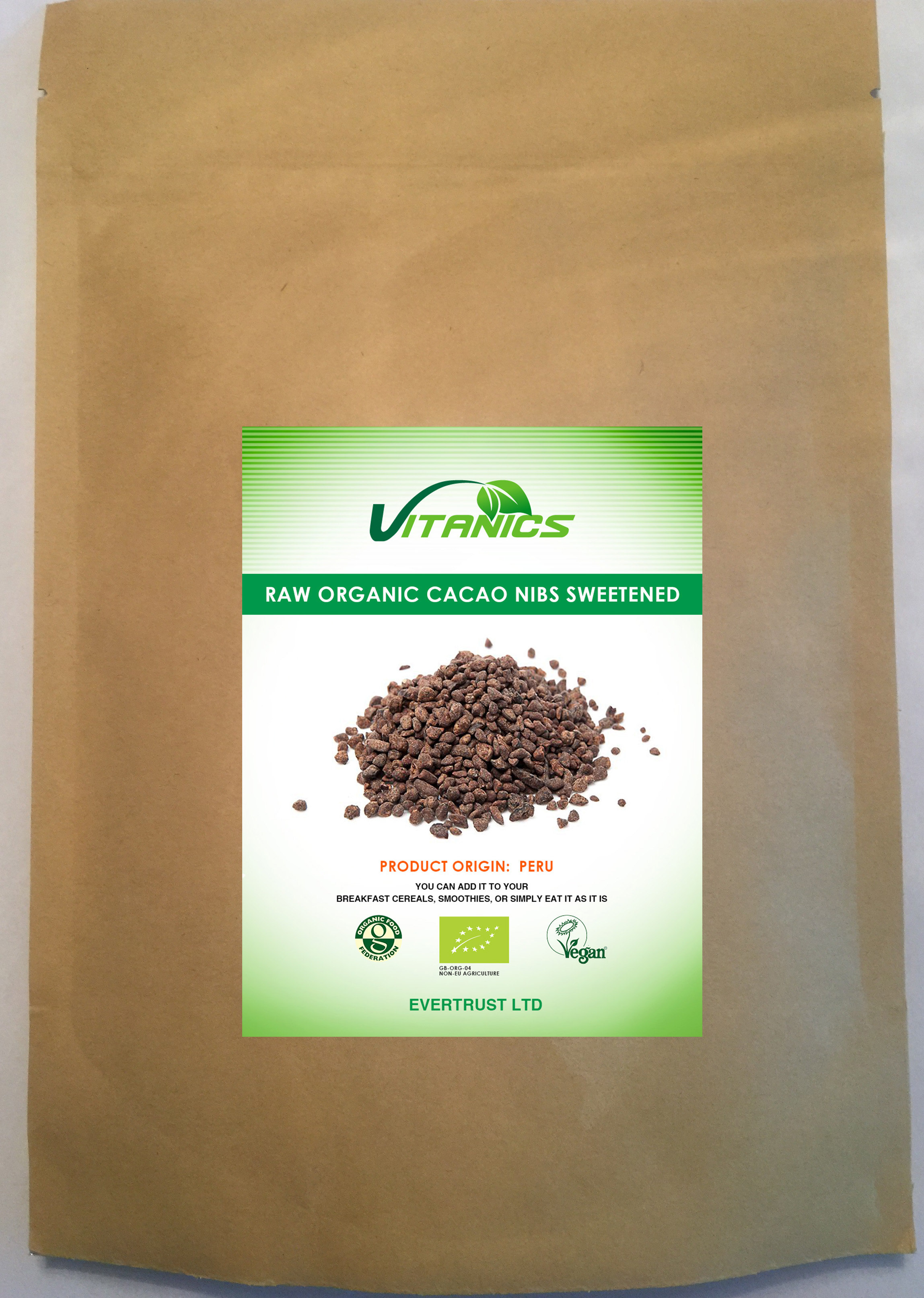 Organic Cacao Nibs sweetened with Yacon Syrup 100g