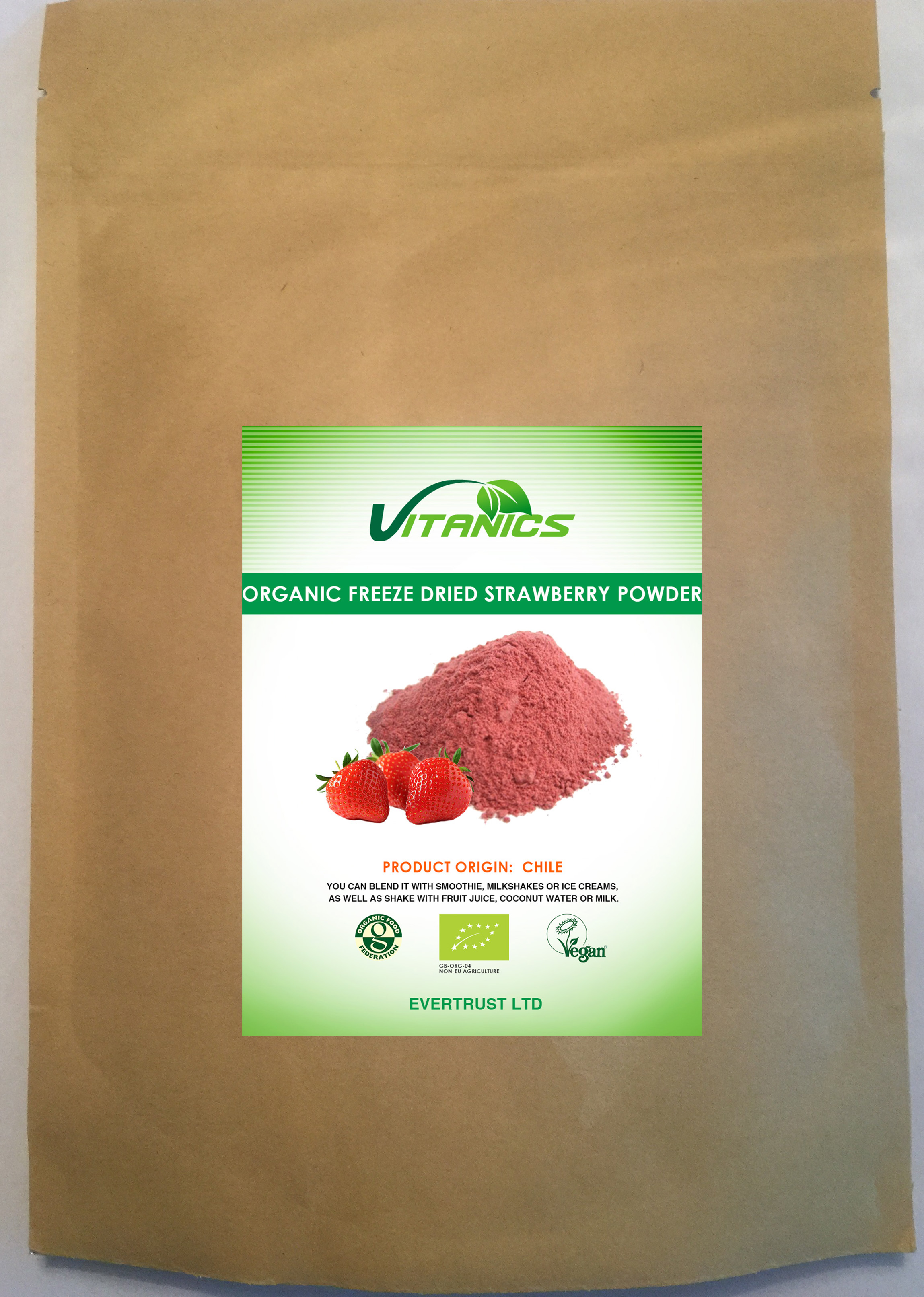 Organic Freeze Dried Strawberry Powder 150g